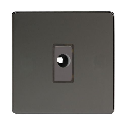 Varilight XDIFODS Screwless Iridium Black 1 Gang 16A Flex Outlet Plate